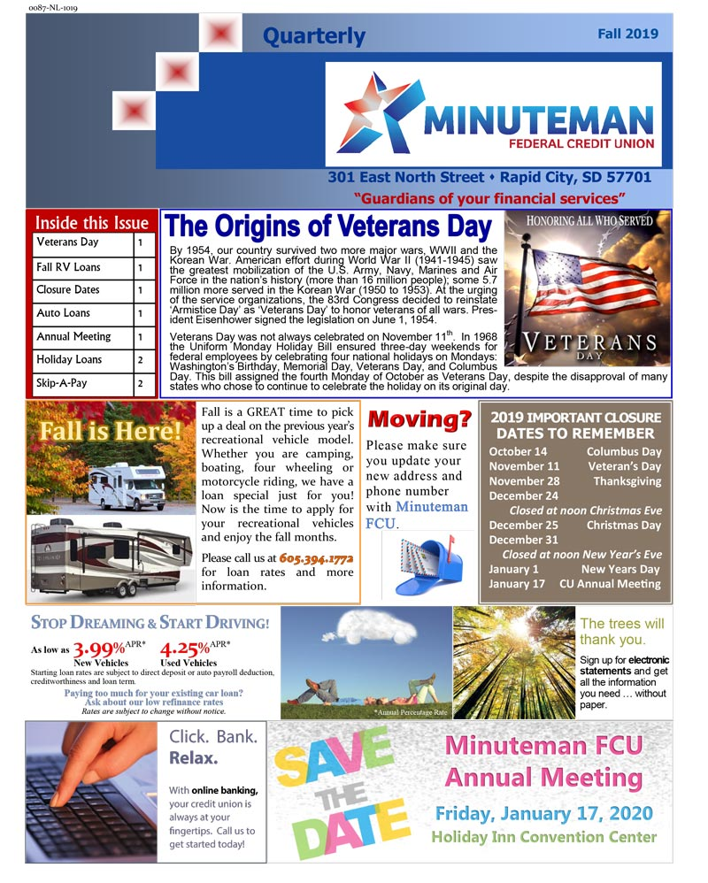 Christmas Eve Federal Holiday 2019.2019 Quarterly Fall Newsletter Minuteman Federal Credit Union